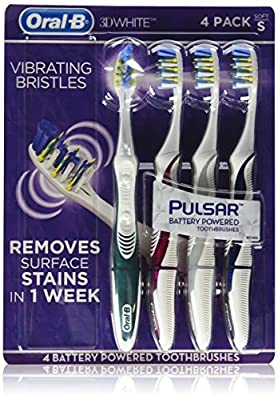 Oral B 3D White Luxe Pulsar Battery Powered Toothbrushes, 4 Count