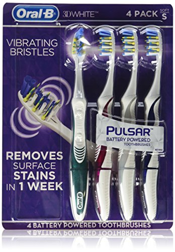 Oral B 3D White Luxe Pulsar Battery Powered Toothbrushes, 4 Count ()