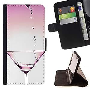 """For Sony Xperia Style T3,S-type Bartender Cocktail Club Pink Cosmo"""" - Dibujo PU billetera de cuero Funda Case Caso de la piel de la bolsa protectora"""