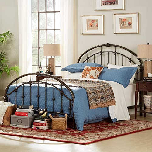 Inspire Q Lacey Round Curved Double Top Arcs Victorian Iron Bed by Classic Bronze Bronze Finish ()
