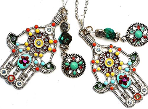 - Large Silver Plated Hamsa Hand Pendant Necklace with Hand Painted Flower Dangling Genuine Turquoise Bead