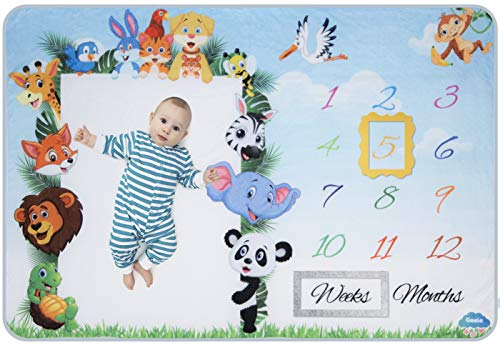 Baby Monthly Milestone Blanket for Boys and Girls | Large Personalized Photo Background to Track Newborn's Growth in The First Year | Thick Fleece with 2 Frames | Perfect Baby ()