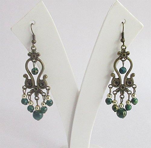 Collection Chandelier Earrings - Dark Green Boho Earring/ Green Beads Long Earrings/Hoop Earring/Green Boho Earrings/Tribal Earrings/Large Exotic Earring/Ethnic Bohemian Jewelry