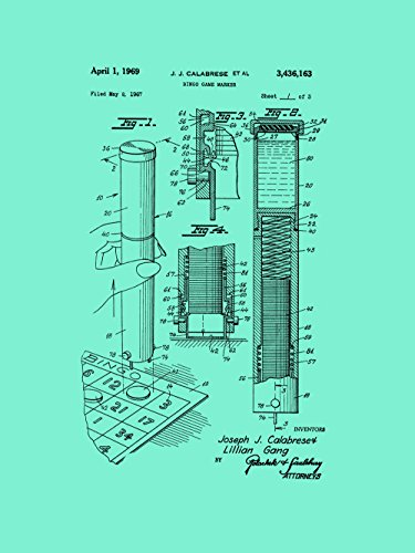 Framable Patent Art the Original Poster Art Print Bingo Night Family Game 18in by 24in Patent PAPSP104S, Seafoam by Framable Patent Art