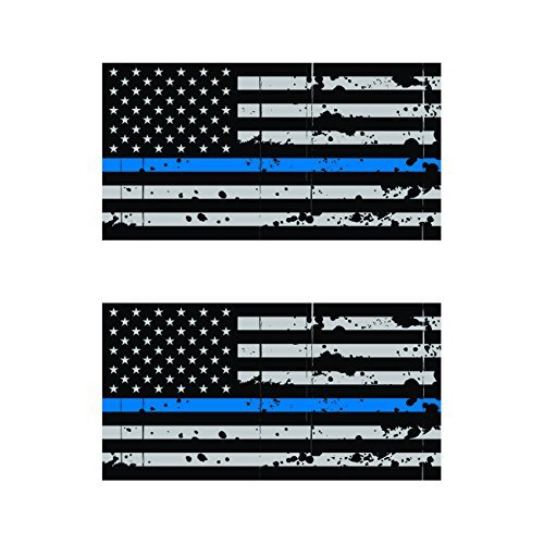 (Magnet Two Pack Distressed Thin Blue Line Subdued American Flag Magnetic Vinyl Law Police USA Car Magnet Bumper Sticker)