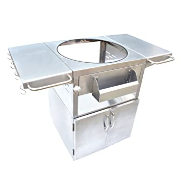 Onlyfire Stainless Steel Grill Cart Table Fit For Kamado Joe Clssic, Large  Big Green Egg