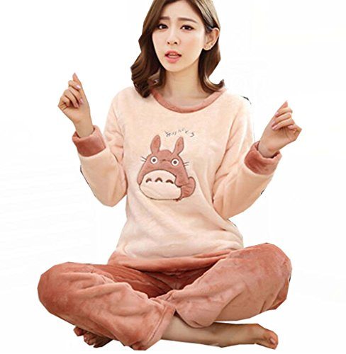 Totoro 2 Piece Long Sleeve Fleece Pajamas Set
