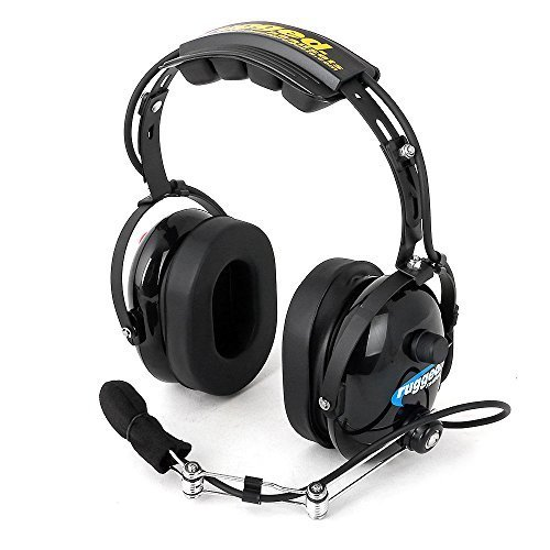 Rugged Radios H22-BLK Black Over The Head Two-Way Radio Headset with Dynamic Noise Cancelling Microphone, Push to Talk, and 3.5mm Input Jack for Music & MP3 Players
