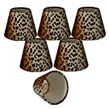 Royal Designs 5'' Black & Brown Small Leopard Print Chandelier Lamp Shade, Set of 6, 3 x 5 x 4.5 (CS-958-5-6)