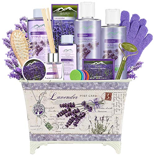 Purelis Lavender Spa Gift Basket for Women - Spa Basket with Lavender Essential Oil Aromatherapy Gift Basket! Luxury Bath & Body Womens Gift Set. Home spa kit