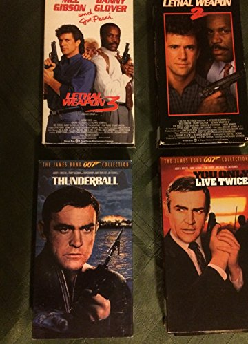 Movie Set Bundle Lethal Weapon 2 & 3 and Thunderball and You Only Live Twice from James Bond (The 007 Agent) VHS