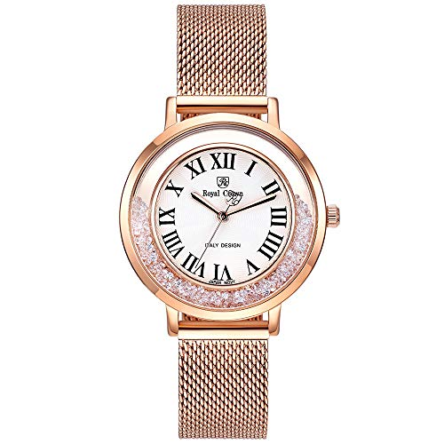Royal Crown Women's Crystal-Accented Rose Gold Mesh Steel Strip Bangle Watch Jewelry Women Waterproof Wrist Watches