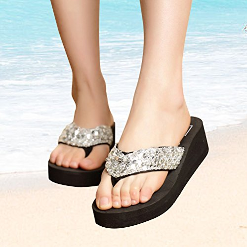 OULII Damen Glitter Platform Sandalen Shiny Thong Sandalen Rutschfeste Keilabsatz Flip Flops Größe 40 (Silber)