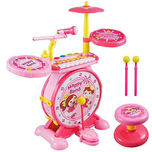 Reditmo Toy Drum Set for Kids, with Mini Piano Keyboard, Microphone, Drum Sticks, Solid Stool, Cultivating Musical Talent, for 18M+ 2-6 Years Old Baby, Toddlers, Children, Pink