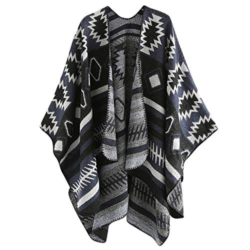 Women's Color Block Shawl Wrap Open Front Poncho Cape Cashmere Wool Striped Shawl Soft Scarf