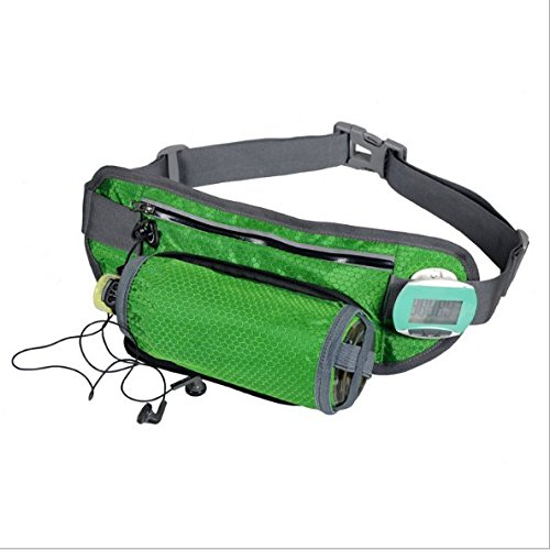 FengZhiWu Slim Polyester Waist Pack with Water Bottle Holder Lightweight Reflective Running Belt Fanny Pack for Outdoor Workout Activities- Green by Laneyli