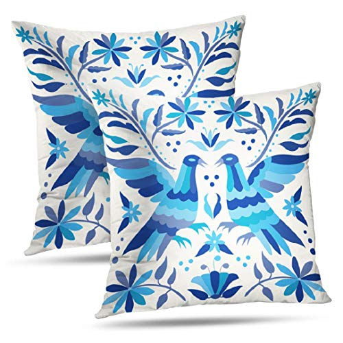 Decorativepillows Set of 2 18 x 18 inch Throw Pillow Covers,Mexican Wedding Ring Bearer Navy Pattern Double-Sided Decorative Home Decor Indoor/Outdoor Garden Sofa Bedroom Car Kitchen Nice Gift Cotton