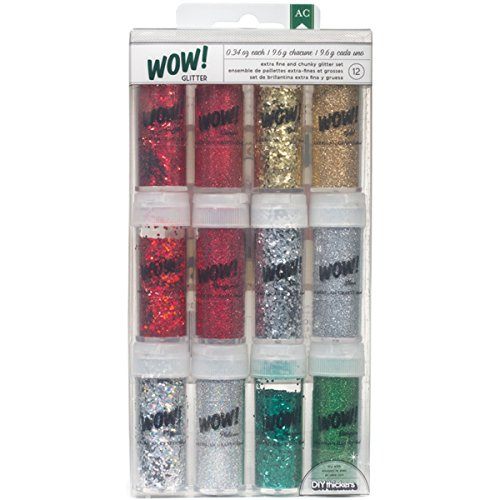 American Crafts WOW Mixed Glitter, 0.34-Ounce, Christmas, 12-Pack -