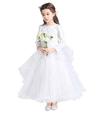 a7e3919483d Tortor 1Bacha Kid Princess Long Sleeve Lace Tulle Maxi Long Flower Girl Dress  White 2-