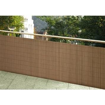 Wetterfester Balkonsichtschutz Holz Optik Vollkunststoff 90x300 ... Balkon Sichtschutz Aus Holz
