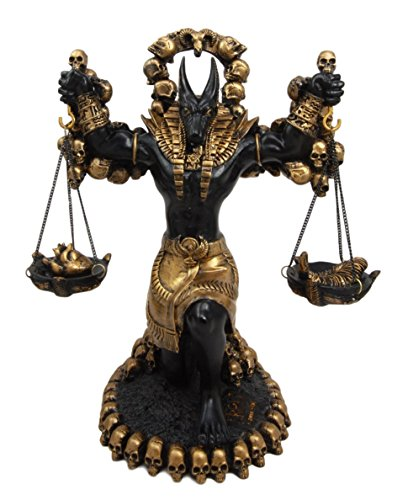 Ancient Egyptian God Anubis By Ankh Altar Weighing The Heart Against Ostrich Feather Figurine 9