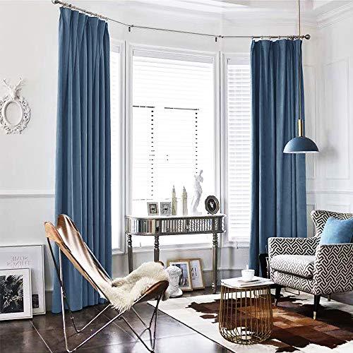 2 Panels Velvet Curtains for Living Room 84 inches Long Slate Blue Rod Pocket Window Curtain Set for Bedroom Room Darkening Velvet Curtains, Back ()