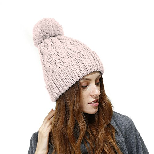 JULY SHEEP Women's Hypoallergenic Winter Knitted Beanie Merino Wool Pompom Hat With Fleece Lining Thick Slouchy Hat Ski Cap (Free, Pink)