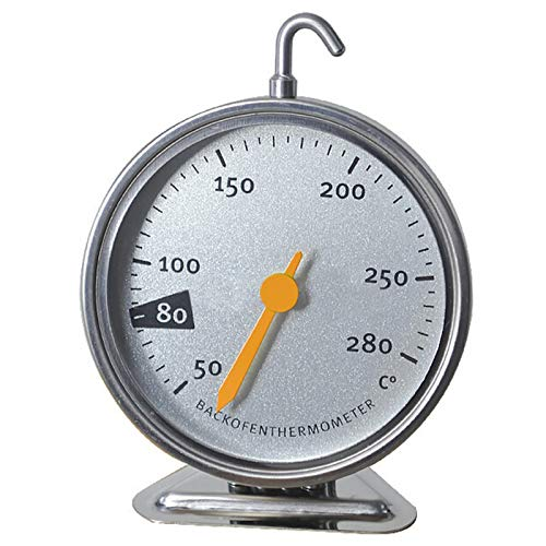 Oven Thermometer Stainless Steel Oven Thermomter Large Dial Oven Thermometer with Hook and Panel Base Oven Monitoring 50 to 280 Degrees C Temperature Range