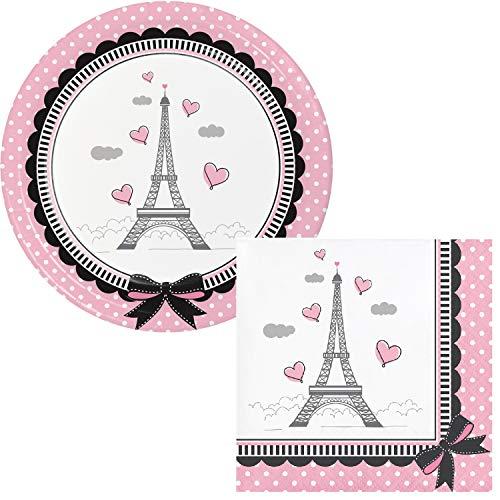 Party in Paris Party Dessert Plates & Napkins Party Kit for - Paris Dessert Plate