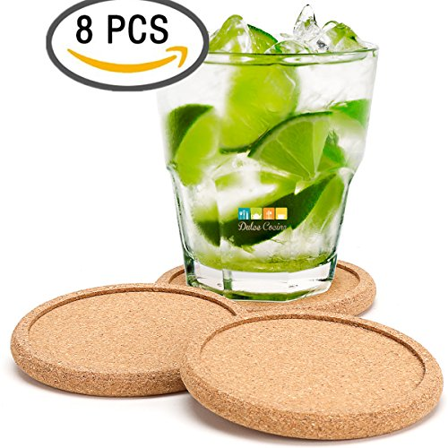 FLASH SALE Dulce Cocina Cork Coasters Premium Set of 8 - Save Your Furniture Surface From Stains And Moisture By Durable Large Deep Tray That Catches Condensation & Liquid Drip From Cold Drinks