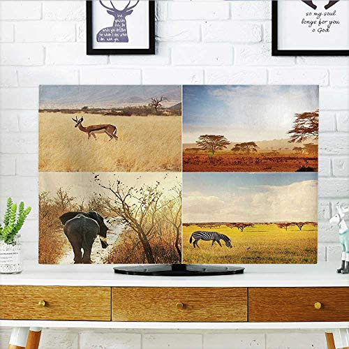 Leighhome Television Protector Safari Safari Collages with Native Wild Savannah s in Lands Lonely Planet Television Protector W36 x H60 INCH/TV 65'' by Leighhome