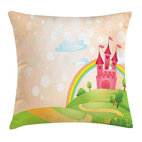 maliin-castle-throw-pillow-cushion-cover-heart-motifs-on-castle-with-rainbow-on-bokeh-style-circles-colorful-love-building-decorative-square-accent-pillow-case-18-x-18-inches-multicolor