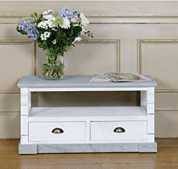 Shabby Chic Cream Wash Wood Tv Stand With Two 2 Drawers Perfect