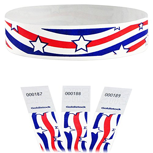 "Goldistock Select - Patriotic Star Wave - 3/4"" Tyvek Wristbands - 200 Count - Event Identification Bands (Paper - Like Texture)"