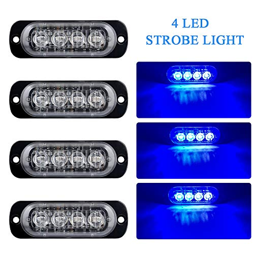 4pcs Ultra Thin 4 LED Blue Warning Emergency light Flash Caution Strobe Light Bar Surface Mount Beacon for Car Vehicle Truck Trailer Caravan Van Motorcycle 12-24V ()