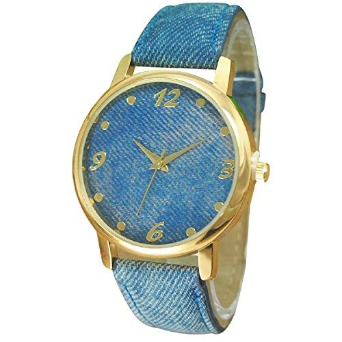 Sannysis Unisex Denim Cloth Strap Bracelet Wrist Watch Analog Quartz Blue ()