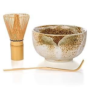 Tealyra - Matcha - Start Up Kit - 3 items - Matcha Green Tea Gift Set - Japanese Made Beige Bowl - Bamboo Whisk and Scoop - Gift Box