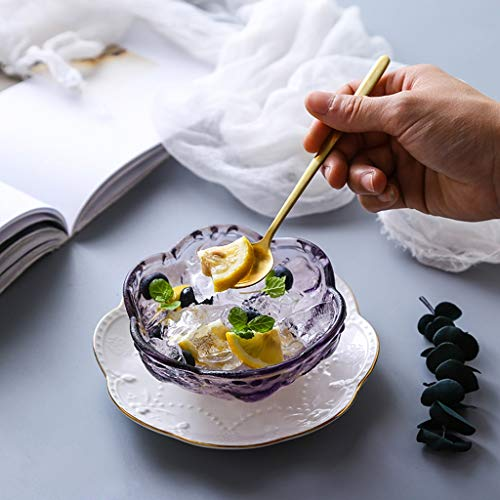 (SMC Bowl Cherry Blossom Glass Bowl Phnom Penh Dessert Bowl Sugar Tremella Soup Bowl Ice Cream Salad Bowl Bird's Nest Bowl Japanese-style Creative Ceramics Yellow, Pink, Purple Household Bowl: 4.5)