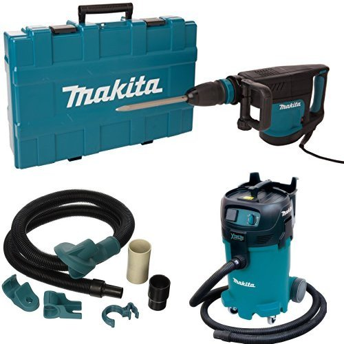 Makita HM1203C 20 lb. Demolition Hammer, accepts SDS-MAX bits, 196571-4 Dust Extraction Attachment, VC4710 12 Gallon Xtract Vac Wet/Dry Dust Extractor/Vacuum