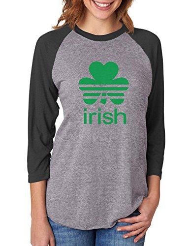 St. Patrick's Day Shamrock Clover - Irish 3/4 Women Sleeve Baseball Jersey Shirt Small ()