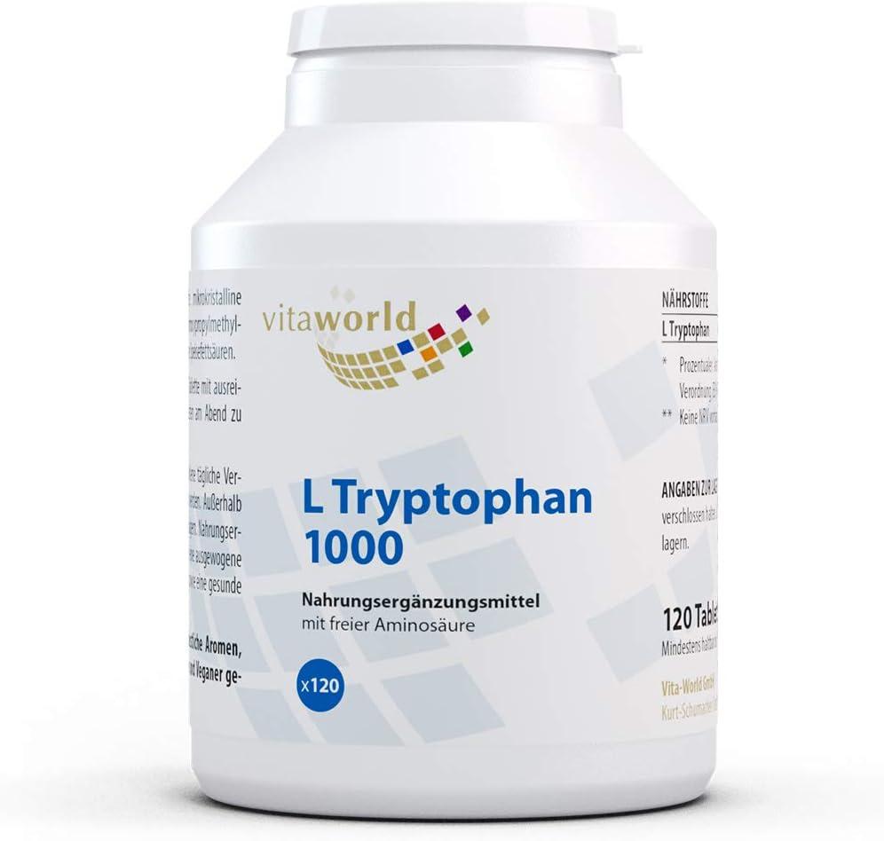 L-Triptófano 1000mg 120 Tabletas Vegetales Vita World Alemania L ...