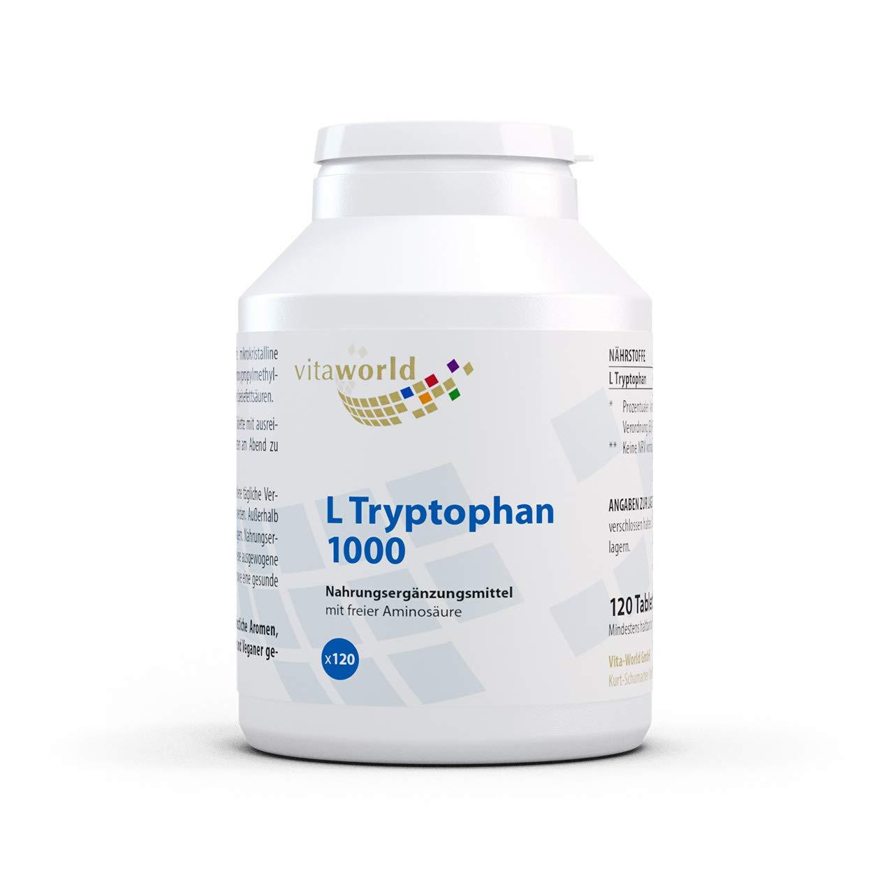 L-Triptófano 1000mg 120 Tabletas Vegetales Vita World ...