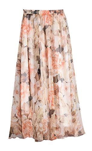 Legendaryman Impression Abricot de Fte Femmes Soirees Jupe Maxi Mousseline Casual t Fashion Plisse Plage Jupes de TTrqz7Bw