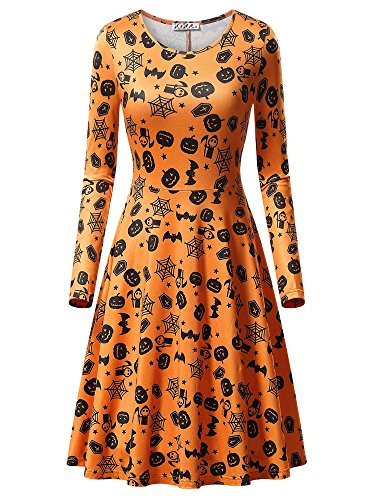 (KIRA Orange Dress, Women's Halloween Bat Cobweb Pumpkin Print Causal Dress 17049-8)