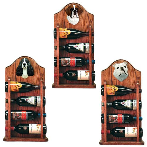 MANTLE Great Dane Wine Rack 4 Bottle Design in Dark Oak by Michael Park by Michael Park