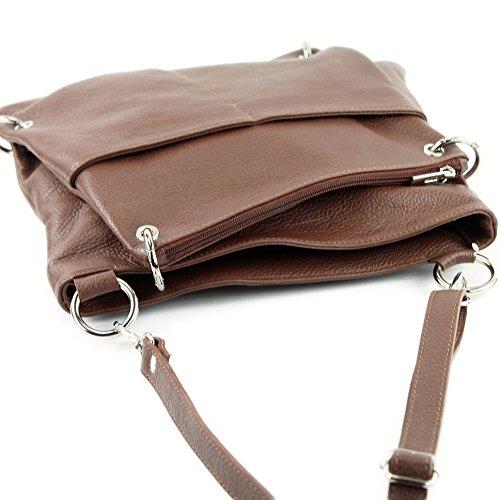 modamoda de - ital. Ledertasche Damentasche Messengertasche Umhängetasche 2in1 Leder T140 Braun