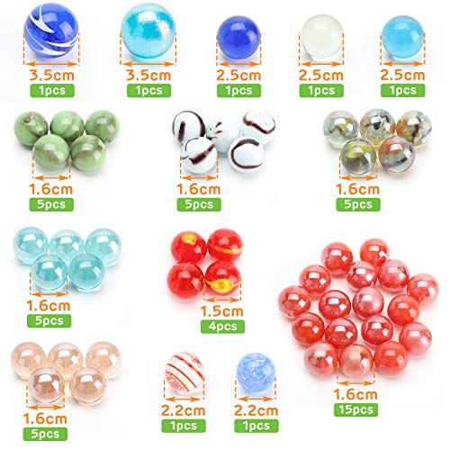 HAKACC Glass Marbles, 680g Star Marble Set with Large Mables for Reward Jars, Marble Games, DIY and Home Decoration