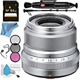 Fujifilm XF 23mm f/2 R WR Lens (Silver) 16523171 + 62mm 3 Piece Filter Kit + 64GB SDXC Card + Lens Pen Cleaner + Fibercloth + Lens Capkeeper + 70in Monopod + Deluxe Cleaning Kit Bundle