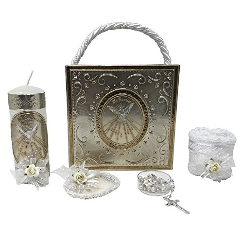 Premium Catholic Baptism Kit in a Repujado Box with Towel, Candle, Rosary and Shell for Baby Boys and Girls. Handmade in Mexico Gift for Godparents. Holy Spirit Baptism Candle Set. Kit de Bautizo. ()