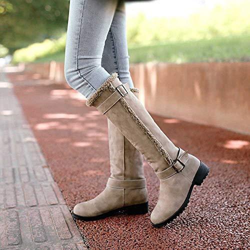 Femmes Mode Avec Haut Calidas Pour De Chaud Chaussures Hiver Up Neige Cinnamou Genou Kaki Pantoufles Botte Bottes 7qIzxv